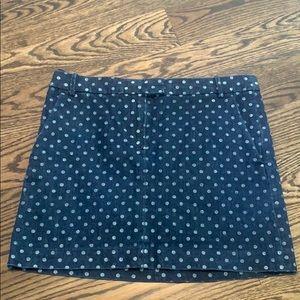 J. Crew Polka Dot Jean Skirt-Size 6